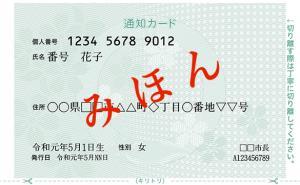 通知カード(見本)